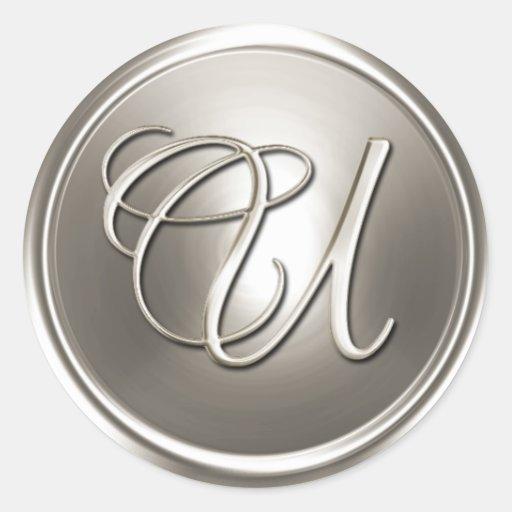 Sello de plata del sobre del monograma U Pegatina Redonda