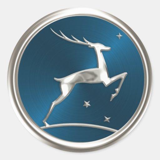 Sello de plata del sobre del reno pegatina redonda