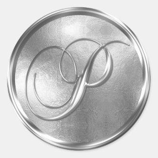 Sello de plata NO-METÁLICO del sobre del monograma Pegatina Redonda