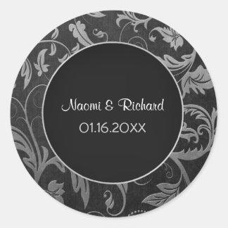 Sello de plata y negro del boda del damasco - etiqueta redonda