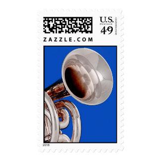 Sello de Poatage de la trompeta en fondo azul