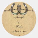 Sello de púas del sobre de las herraduras rústicas etiquetas redondas