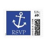 Sello de RSVP del ancla del barco (azules marinos)