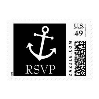 Sello de RSVP del ancla del barco (negro)