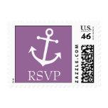 Sello de RSVP del ancla del barco (púrpura de la b