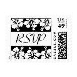 Sello de RSVP (el hibisco florece negro)