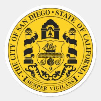 Sello de San Diego Pegatina Redonda