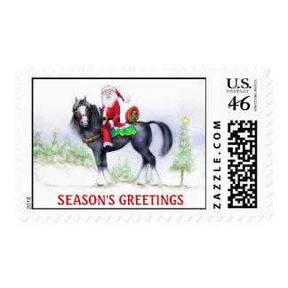 Sello - de Santa escena del invierno a caballo