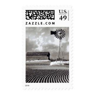 Sello de USPS del granero blanco y negro y del mol