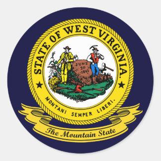 Sello de Virginia Occidental Pegatina Redonda