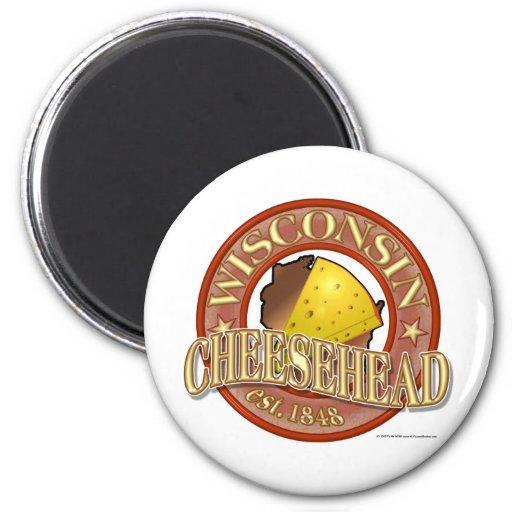 Sello de Wisconsin Cheesehead Imán Redondo 5 Cm