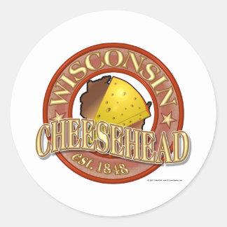 Sello de Wisconsin Cheesehead Pegatina Redonda