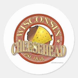 Sello de Wisconsin Cheesehead Etiqueta Redonda
