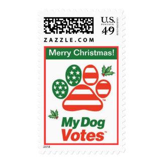 Sello del acebo de las Felices Navidad de mis voto