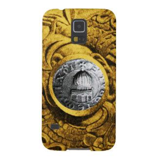 SELLO del amarillo del oro de los CABALLEROS Fundas De Galaxy S5