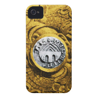 SELLO del amarillo del oro de los CABALLEROS iPhone 4 Case-Mate Protector