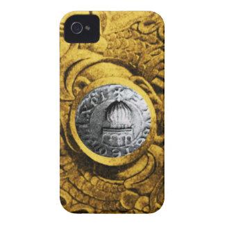 SELLO del amarillo del oro de los CABALLEROS TEMPL Case-Mate iPhone 4 Protectores