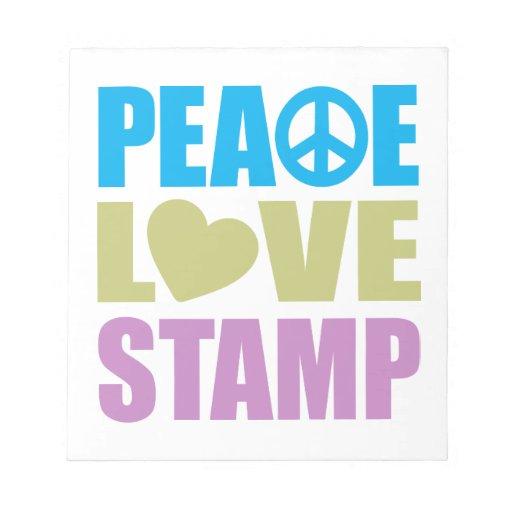 Sello del amor de la paz blocs de notas