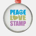 Sello del amor de la paz ornaments para arbol de navidad