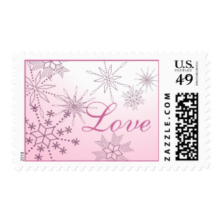 Sello del amor del copo de nieve en rosa