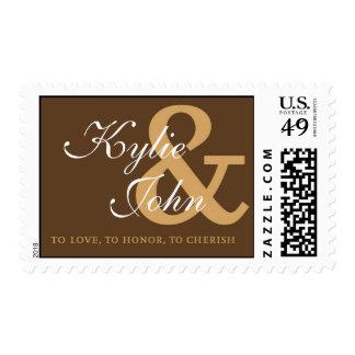 Sello del amor del monograma - Brown y oro