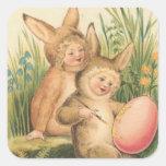 Sello del arte del día de fiesta de Pascua del Pegatina Cuadrada