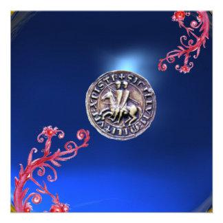 SELLO del azul del zafiro de los CABALLEROS TEMPLA Anuncio Personalizado