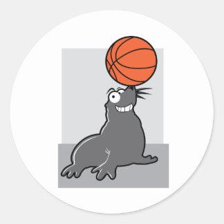 Sello del baloncesto etiquetas redondas