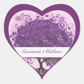 Sello del boda del árbol de la hoja del corazón pegatina en forma de corazón