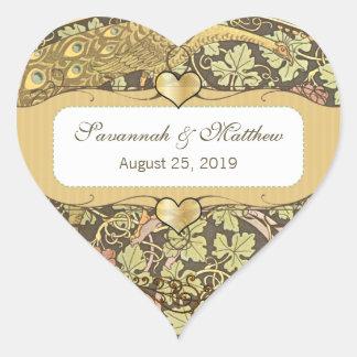 Sello del boda del corazón de los pavos reales de pegatina en forma de corazón