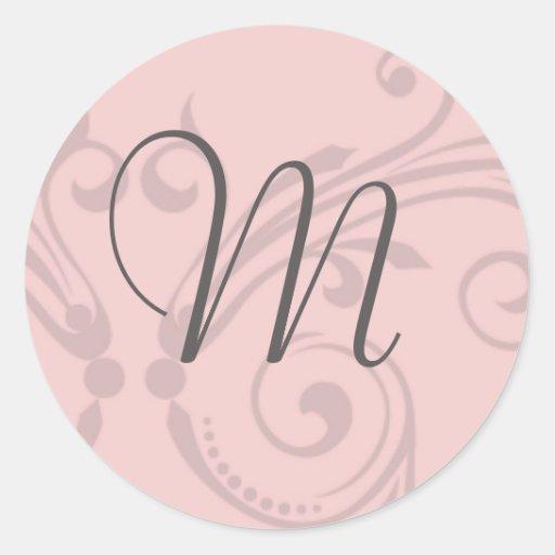 Sello del boda del monograma pegatina redonda