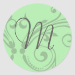 Sello del boda del monograma pegatinas redondas