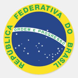 Sello del Brasil Pegatina Redonda
