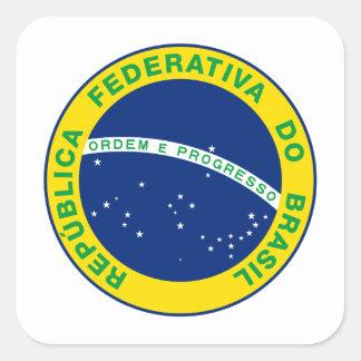 Sello del Brasil Pegatina Cuadrada
