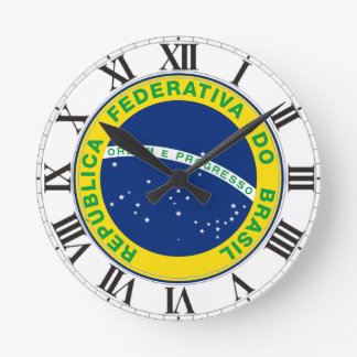 Sello del Brasil Reloj Redondo Mediano