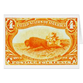 Sello del búfalo de la caza de 1898 indios tarjeta pequeña