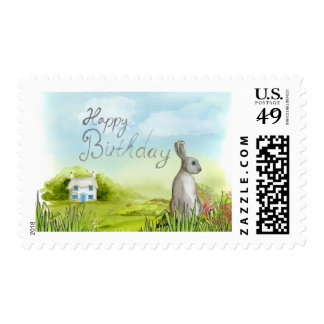 Sello del campo del conejito del feliz cumpleaños