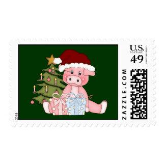 Sello del cerdo y del árbol de navidad