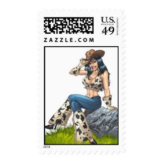 Sello del chica del país de la vaquera por el Al R