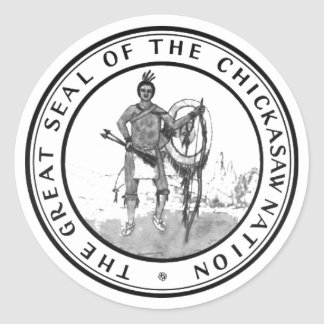 Sello del Chickasaw Pegatina Redonda