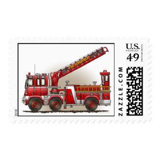Sello del coche de bomberos de gancho y de escaler