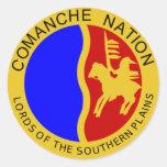 Sello del Comanche Etiquetas Redondas