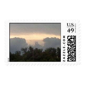 sello del correo de la puesta del sol