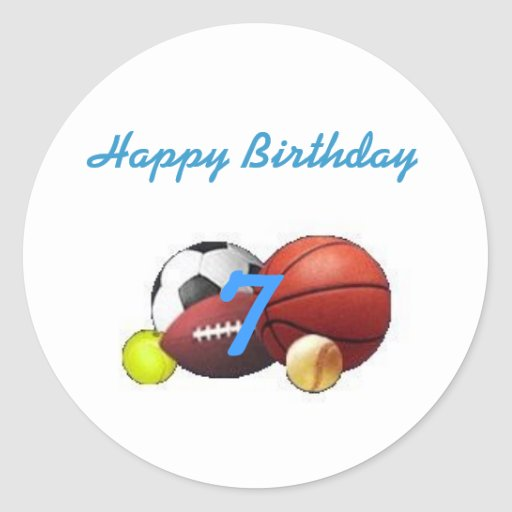 Sello del cumpleaños de la fan de deportes pegatina redonda