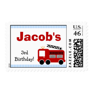 Sello del cumpleaños del coche de bomberos de las
