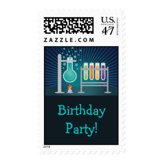 Sello del cumpleaños del laboratorio de ciencia