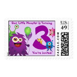 Sello del cumpleaños del monstruo (púrpura/verde)