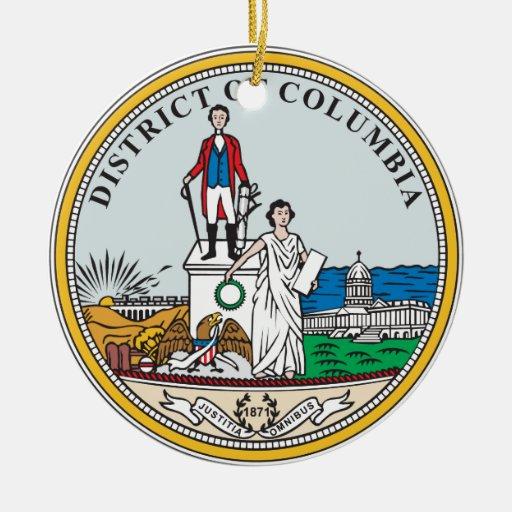 Sello del distrito de Columbia Adorno Navideño Redondo De Cerámica