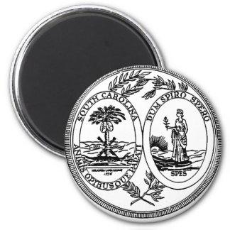Sello del estado de Carolina del Sur Imán Redondo 5 Cm