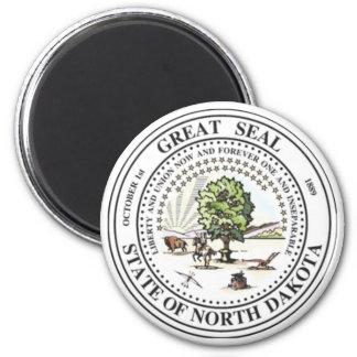 Sello del estado de Dakota del Norte Imán Redondo 5 Cm